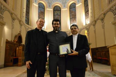 JRS Syria representatives Fr. Ken Gavin, Fr. Mourad Abou Seif, and Fr.  Ziad Hilal (from left to right) receiving the Pax Christi International  Peace Award, on 8 June 2014, in Sarajevo, Bosnia and Herzegovina.