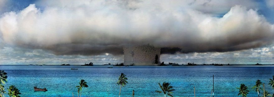 Mushroom cloud from nuclear weapons test in the Pacific Ocean